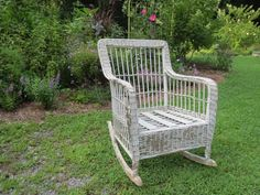 This wicker rocker had seen better days, and seemed destined for the garden to become a planter. I got it for $10 at a thrift store and lugged it home to join m…