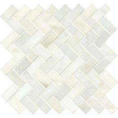 Greecian White Herringbone Pattern 12 in. x 12 in. x 10 mm Polished Marble Mesh-Mounted Mosaic Tile (10 sq. ft. / case)