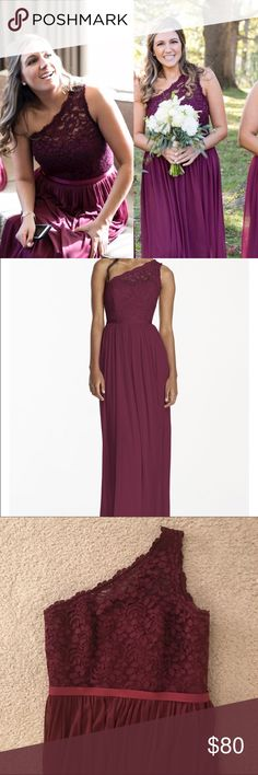 """David's Bridal Long One-Shoulder Lace Dress *One shoulder lace and mesh bridesmaid dress from David's Bridal in wine color. *Hemmed for 5'4 height with 3-4"""" heel. Someone taller could wear with a lower heel. *Fully lined, back zipper with clasp closure *Only worn once and in great condition David's Bridal Dresses One Shoulder"""