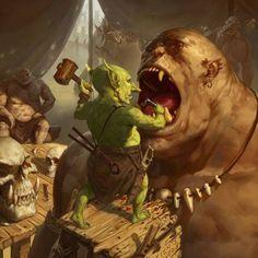 Ogre and Goblin-- Share via Artstation iOS App, Artstation © 2017 Fantasy Races, High Fantasy, Fantasy Rpg, Medieval Fantasy, Dark Fantasy Art, Fantasy Artwork, Fantasy World, Fantasy Inspiration, Character Inspiration