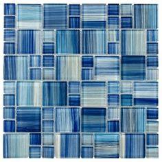 Backsplash - Feature Wall - Pool - Mosaic Tile Outlet by MosaicTileOutletCo Glass Pool Tile, Blue Glass Tile, Blue Tiles, Glass Mosaic Tiles, Wall Tiles, Blue Mosaic, Glass Art, Mosaic Wall, Glass Brick