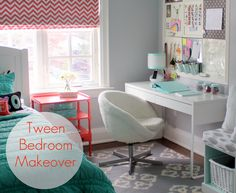 girl's tween bedroom - (exactly the color scheme I had in mind, but reusing her white bedding)