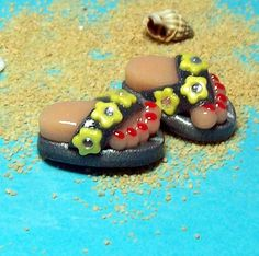 Flip Flop BEADS Handmade from Polymer Clay  Popular by BarbiesBest, $7.00