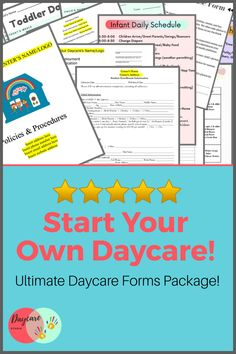 Daycare Studio is your one stop shop for every form, policy, handbook, & sign you need to start and run your own daycare or center! We have forms available for purchase and lots of FREEBIES! Daycare Names, Daycare Menu, Home Daycare, Daycare Contract, Daycare Forms, Parent Handbook, Form Name, Starting A Daycare, Menu Flyer