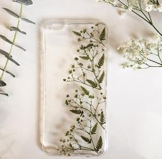 Floral phone case, Fern phone case, Baby's Breath Case, Pressed Flowers Phone Case, Green Pho… - Phone Accessories Cases Iphone 6, Cute Phone Cases, Iphone 8, Apple Iphone, Iphone 7 Cases Floral, Telephone Iphone, Aesthetic Phone Case, Huawei P10, Coque Iphone