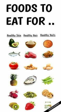 FOODS TO EAT FOR HEALTHY SKIN, HAIR AND NAILS We all want to look beautiful! With that said, it is very obvious we need good skin, hair and nails and most of us apply stuff topically to look good. We are what we eat and a healthy diet can cert… Healthy Nails, Healthy Skin Care, Healthy Beauty, Healthy Scalp, Food For Glowing Skin, Food Good For Skin, Good Skin Tips, Foods To Eat, Natural Skin Care
