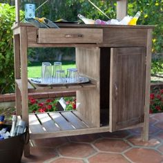 Coral Coast Rustic Garden Storage Potting Bench   Driftwood Finish   Outdoor  Bar Idea.