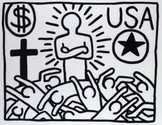 Keith Haring, The Political Line, Peinture - Musée d'Art Moderne, Paris, France