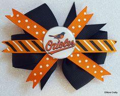 Baltimore Orioles Oriole Bird Logo MLB Baseball Orange & Black Grosgrain Ribbon Hair Bow Barrette, Maryland MD O's Clip, Team Hairbow Fan by SmoreCrafty on Etsy