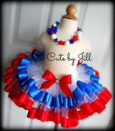 Sewn Red White and Blue Tutu With Ribbon Trim by TutuCuteByJill, $45.00