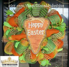 Happy Easter Burlap Carrot Wreath by lilmaddydesigns on Etsy, $115.00