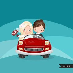 Just married bride and groom clipart in sports car clipart