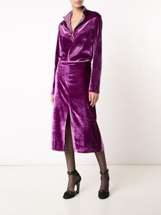 Nina Ricci zipped neck velvet dress