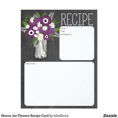 Mason Jar Flowers Recipe Card