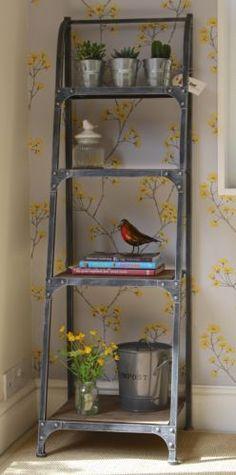 4-Tier-Metal-Frame-Bookshelf-Urban-Vintage-Industrial-Rustic-Pewter