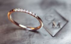 Gold Band with 8 Pave Set Diamonds- 14k Gold Wedding band with Diamonds on Etsy, $375.00