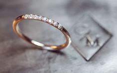 Gold Band with 8 Pave Set Diamonds- 14k Gold Wedding band with Diamonds on Etsy, $375.00