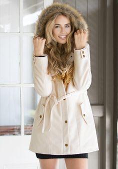 Faux Woolen Utility Jacket- Pretty Long-Sleeved Parka