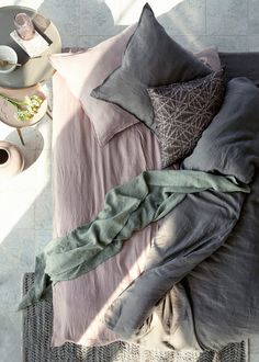 The Spring Summer collection from Broste Copenhagen introduces their first bed linen in linen which is Oe-ko-Tex certified which means it is safe for the environment as well as the consumer. Mauve Bedroom, Dream Bedroom, Home Bedroom, Bedroom Decor, Bedrooms, Linen Bedroom, Home Interior, Interior Design, Broste Copenhagen