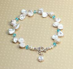 Keshi Pearl & Faceted Apatite Bracelet - Beth Devine Designs