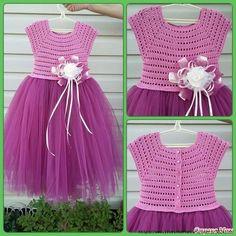 60 Best ideas for baby girl crochet dress fabrics Crochet Yoke, Crochet Fabric, Crochet Patterns, Crochet Gratis, Crochet Ideas, Knitting For Kids, Crochet For Kids, Baby Knitting, Crochet Tutu Dress