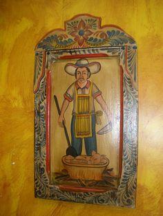 Retablo - Mexican Folk Art - Old Door - 16x30