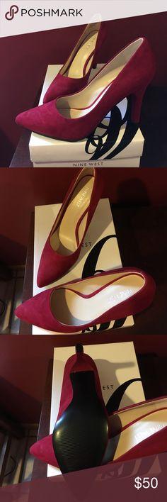 Red suede pumps. Never worn 3 inch heels Nine West Shoes Heels