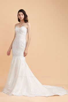 BMbridal Chic Strapless Sweetheart Ivory Mermaid Prom Dresses Sleeveless Appliques Sequined Evening Dresses On Sale | BmBridal
