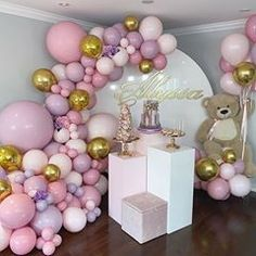 Balloons by Dina ( Gender Reveal Party Decorations, Girl Baby Shower Decorations, Balloon Decorations, Birthday Party Decorations, Baby Shower Themes, Decoration Party, Shower Ideas, Balloon Garland, Balloon Arch
