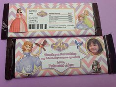 Printable Disney Sopia the First Hershey Wrappers by PeekaOwl, $4.50