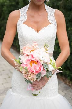 lace wedding gown and pink, peach and white bouquet. See more from this destination wedding here http://www.weddingchicks.com/gallery/classy-destination-wedding/?pid=142120