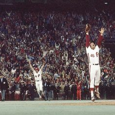 35 years ago today the @phillies won the 1980 World Series against the @kcroyals. The Phils won in six games to capture the first of two World Series titles in franchise history to date. The series concluded after Game 6 which ended with Tug McGraw striking out Willie Wilson at 11:29 pm on Oct. 21 1980. Game 6 stands as the most watched game in World Series history with a TV audience of 54.9 million viewers