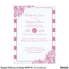 Elegant Pink Lace & Stripe RSVP Wedding Invitation