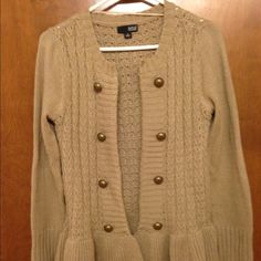 FINALPRICE. Peplum style sweater Tan sweater with cute buttons, peplum style. Accepting reasonable offers! Some pilling and snags, hence the price Sweaters