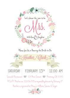 Gold Pink  Mint Floral Bridal Shower invite by RAWkonversations, $12.00