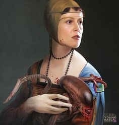 A lady with an Ermine - Sigourney Weaver - Alien. Old Masters Paintings with a Science fiction Twist. To see more art and information about Richard Kingston click the image. Alien Films, Aliens Movie, Arte Horror, Horror Art, Spock, Cultura Pop, Art Alien, Science Fiction, R2d2