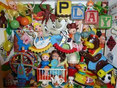 OOAK Vintage Retro Play Room Shadowbox w Polymer by chickitout, $275.00