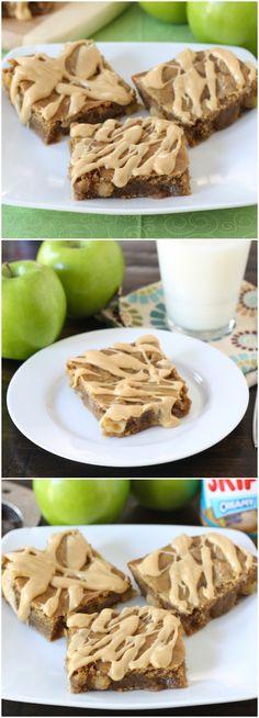Peanut Butter Apple Bars Recipe on twopeasandtheirpod.com Love the peanut butter and apple combo! #apple #peanutbutter