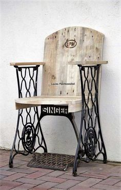Repurposed Singer sewing machine seat - would be great at end of our porch in the sun