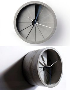 concrete clock - might be a bit hard to read when you arent sitting straight on but it still looks pretty cool!