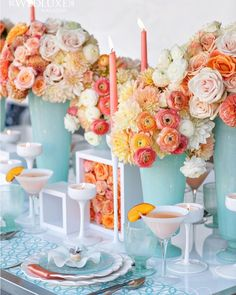 Fresh and summery table-scape inspired by ballet artist Degas and featured in #wedluxe Don't you live the colour palette? That  sea foam blue with the corals and peaches! So divine!