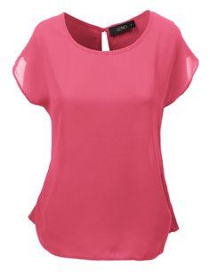 LE3NO Womens Loose Fit Short Sleeve Chiffon Blouse Top