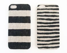 iPhone 5 case black stripes on unbleached natural linen $20 /i dont own an iphhone, but a linen phone case idea is great!/