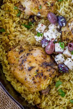 Mediterranean Diet One Pot Mediterranean Chicken and Rice made with chicken thighs and turmeric seasoned rice baked in the oven until crispy and tender. Greek Chicken Breast, Baked Greek Chicken, Greek Chicken Recipes, Rice Recipes, Cooking Recipes, Cooking Rice, Skillet Recipes, Meal Recipes, Gourmet