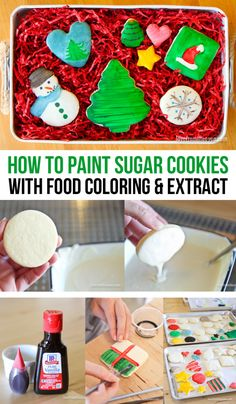 Painting Sugar Cookies With Food Coloring And Flavor Extracts. This is so easy and would be SO fun to do with the kids. #cookies