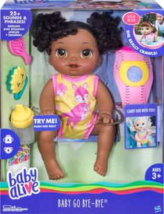 Shop Baby Alive Baby Go Bye-Bye Baby Doll at Best Buy. Find low everyday prices and buy online for delivery or in-store pick-up. Baby Dolls For Kids, Baby Girl Dolls, Toys For Girls, Kids Toys, Baby Alive Doll Clothes, Baby Alive Dolls, Muñeca Baby Alive, Avatar Babies, Candy Theme Birthday Party