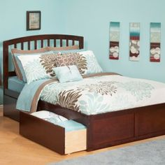 Atlantic Furniture Richmond Twin Bed with Flat Panel Footboard and Urban Bed Drawers in an Antique Walnut Finish Kids Bedroom Furniture, Furniture Making, Bedroom Decor, Urban Furniture, Bedroom Ideas, Bed Ideas, Furniture Stores, Furniture Ideas, Queen Size Trundle Bed