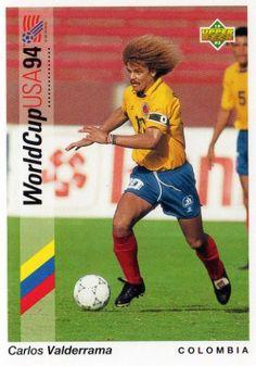 Carlos Valderrama of Colombia. 1994 World Cup Finals card. World Cup 94, World Cup Final, Fifa World Cup, Carlos Valderrama, Soccer Cards, Football Cards, Baseball Cards, Good Soccer Players, Football Players