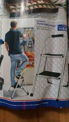 With commerce people like to imagine themselves using the product, this man must carry his ladder everywhere for those 'hard to reach' items