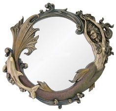 Coney Island Nautical Mirror Mermaid Playing w/ Dolphin Wall Decor